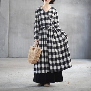 Fine black white plaid linen maxi dress plus size clothing v neck traveling dress Fine front open maxi dresses