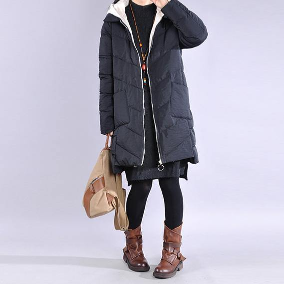 Fine black zippered casual outfit casual Jackets & Coats low high design hooded winter coats