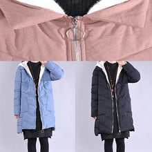 Load image into Gallery viewer, Fine black zippered casual outfit casual Jackets & Coats low high design hooded winter coats