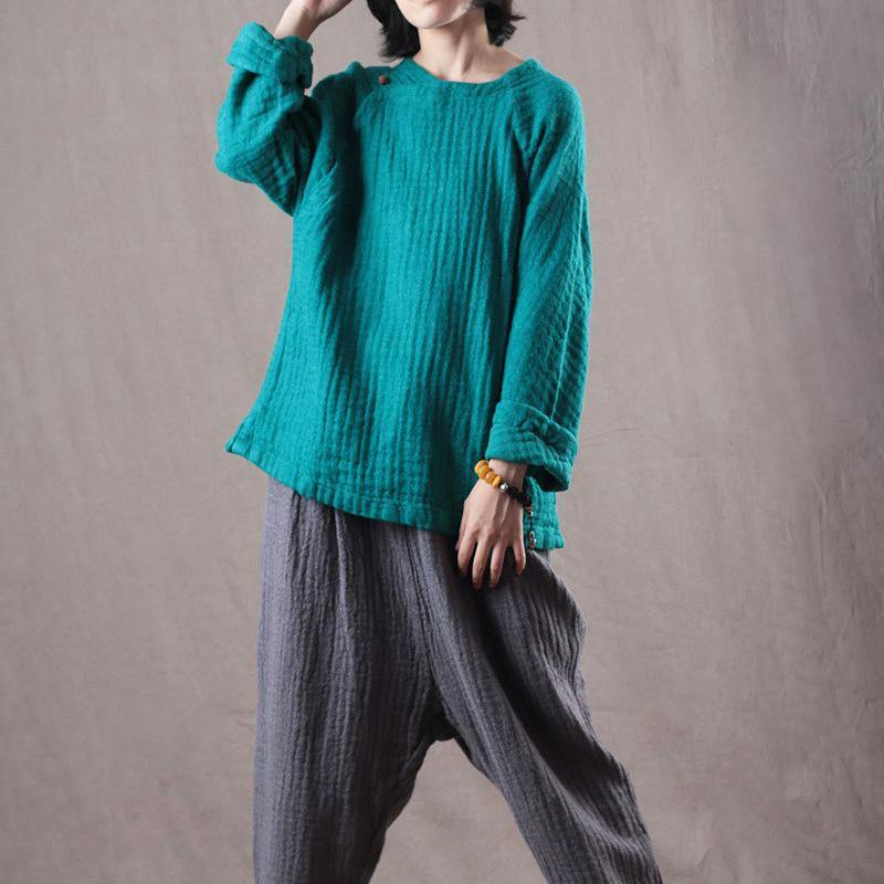 Fine blue  linen tops casual linen cotton t shirt Fine long sleeve Chinese Button midi tops
