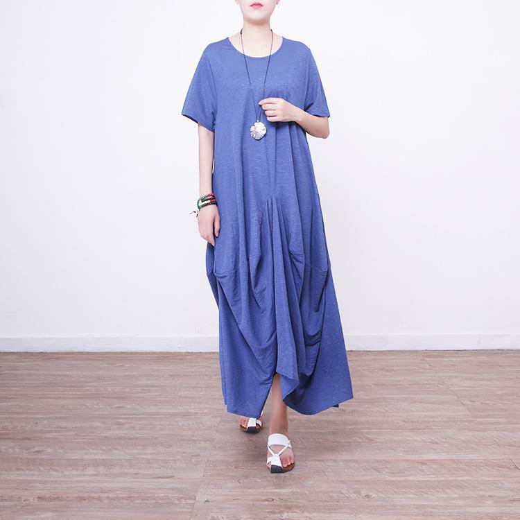 Fine blue long linen dresses casual o neck traveling clothing New asymmetric gown