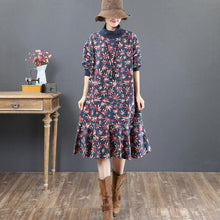 Load image into Gallery viewer, Fine blue prints  pure cotton dresses   plus size cotton clothing dresses stand collar Elegant patchwork cotton clothing dresses