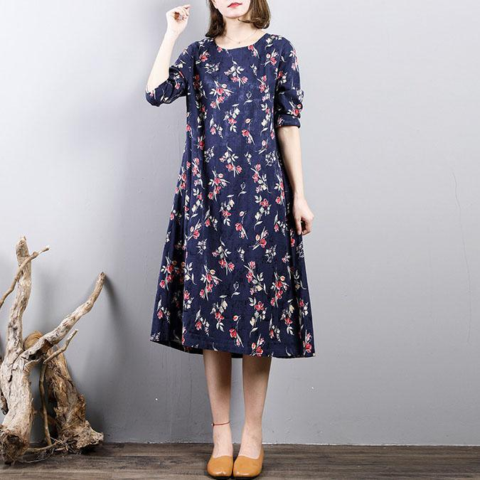Fine blue prints cotton dresses casual o neck cotton clothing dress 2018long sleeve autumn dress