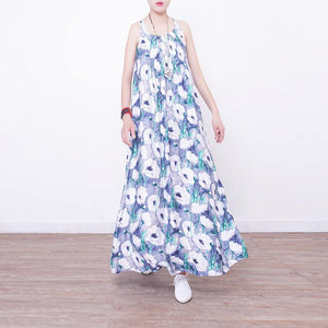 Fine blue prints long cotton dresses Loose fitting big hem cotton gown casual sleeveless gown