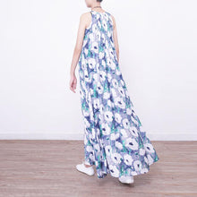 Load image into Gallery viewer, Fine blue prints long cotton dresses Loose fitting big hem cotton gown casual sleeveless gown