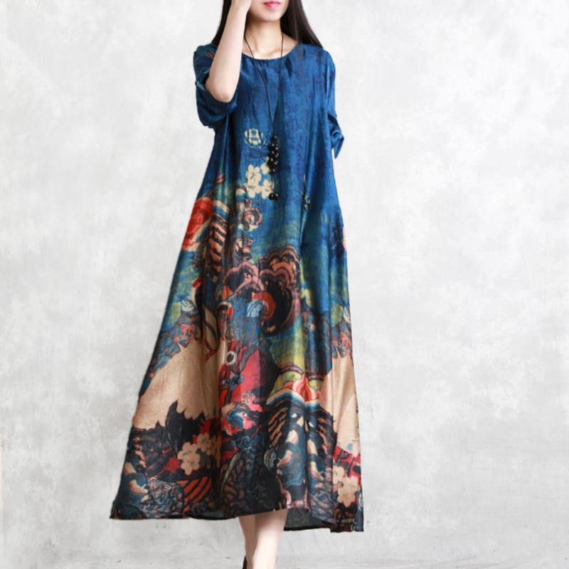 Fine Blue Prints Natural Silk Dress Loose Fitting O Neck Silk Gown New Big Hem Kaftans