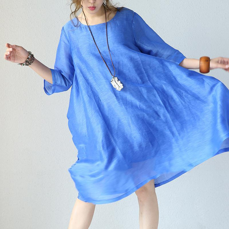 Fine blue silk maxi dress oversize O neck Half sleeve silk gown women baggy dresses