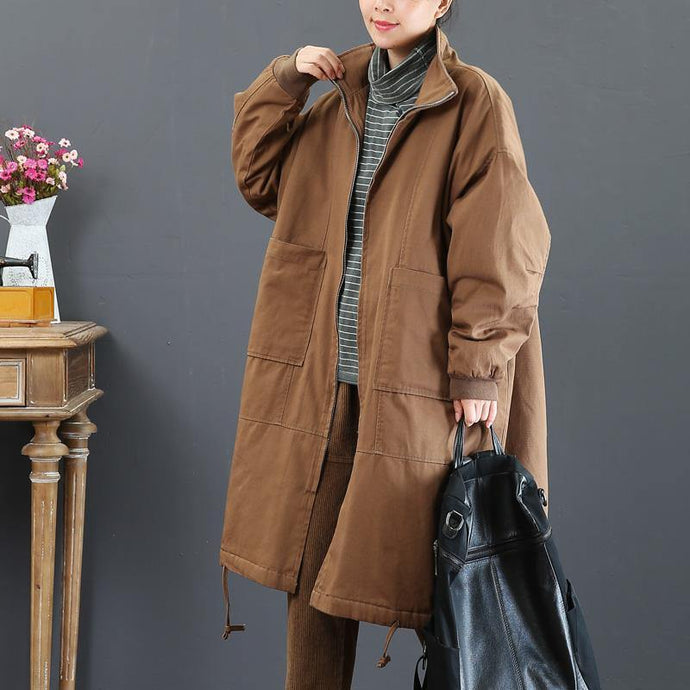 Fine brown coat for woman casual medium length fall jackets zippered