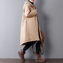 Load image into Gallery viewer, Fine brown for women plus size hooded warm winter coat top quality pockets drawstring winter coats