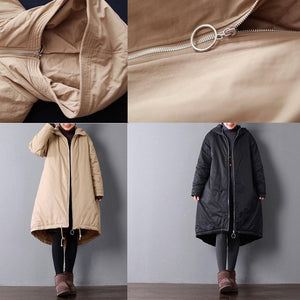 Fine brown for women plus size hooded warm winter coat top quality pockets drawstring winter coats