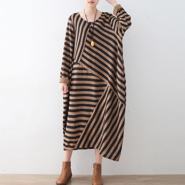 Fine brown striped 2018 fall dress Loose fitting O neck vintage patchwork pockets caftans