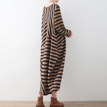 Load image into Gallery viewer, Fine brown striped 2018 fall dress Loose fitting O neck vintage patchwork pockets caftans