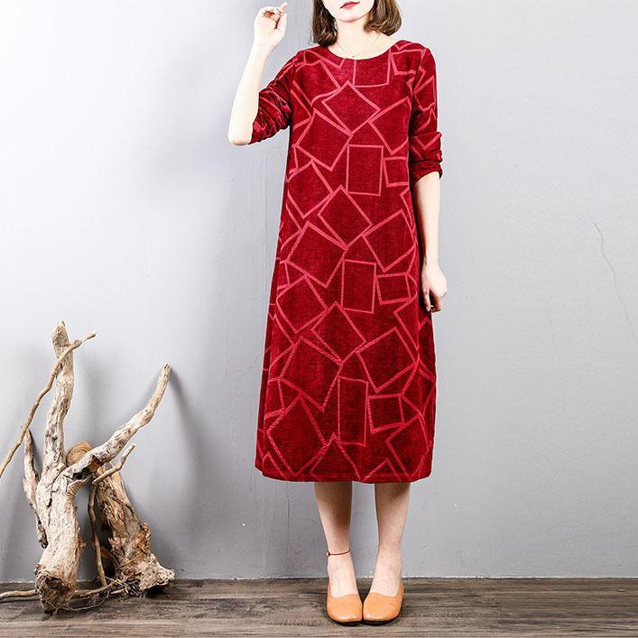 Fine burgundy corduroy dresses Loose fitting long sleeve traveling dress Fine o neck gown