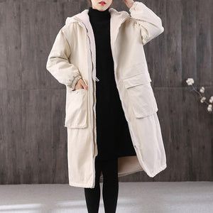 Fine casual winter jacket overcoat white hooded thick Parkas