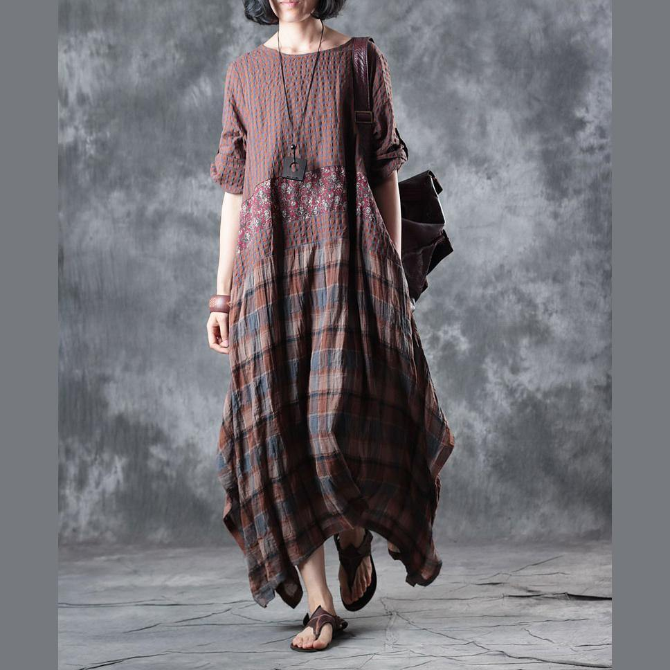 Fine chocolate linen maxi dress  plaid grid patchwork linen gown 2018 half sleeve pockets caftans