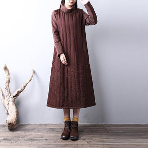 Fine chocolate women oversize high neck Elegant pocketsYZ-2018111419