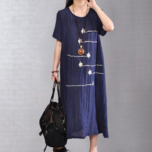 Load image into Gallery viewer, Fine cotton blended sundress Loose fitting Women Summer Short Sleeve Embroidery Navy Blue Dress