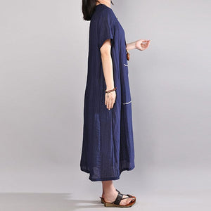 Fine cotton blended sundress Loose fitting Women Summer Short Sleeve Embroidery Navy Blue Dress