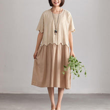 Load image into Gallery viewer, Fine cotton caftans plus size Casual Loose Beige Cotton Summer Dresses For Women