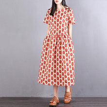 Load image into Gallery viewer, Fine cotton dress oversize Women Cotton Short Sleeve Orange Dots Pullover Dress