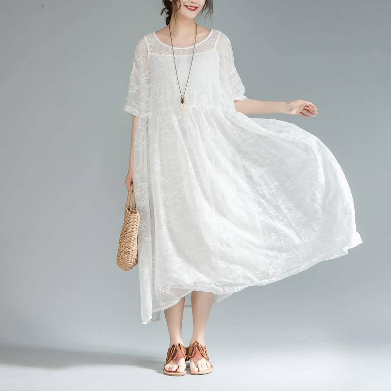 Fine cotton lace dresses oversize Women Loose Round Neck Half Sleeve Pleated Dress