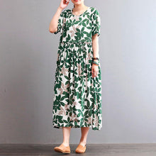 Load image into Gallery viewer, Fine cotton linen dresses casual Round Neck Leaf Printed Short Sleeve Green Women Dress