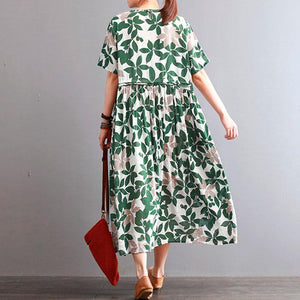 Fine cotton linen dresses casual Round Neck Leaf Printed Short Sleeve Green Women Dress