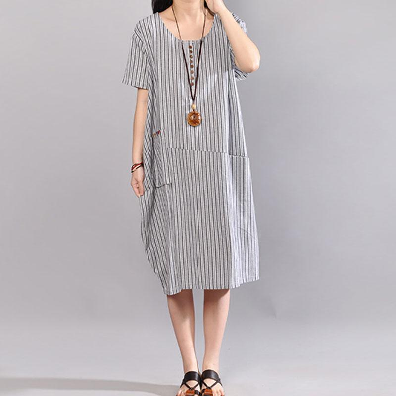 Fine cotton maxi dress stylish Stripe Short Sleeve Round Neck Casual Light Gray Dress