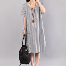 Load image into Gallery viewer, Fine cotton maxi dress stylish Stripe Short Sleeve Round Neck Casual Light Gray Dress