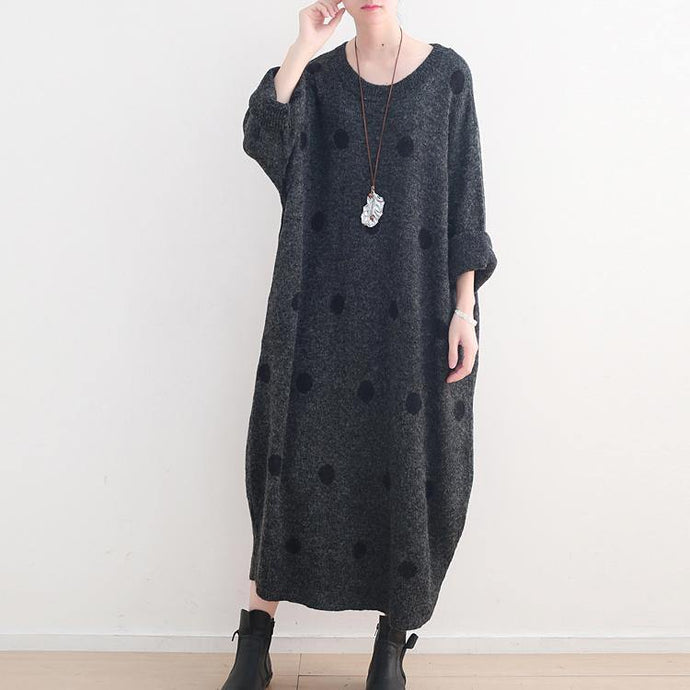 Fine dark gray dotted long sweaters casual o neck pullover sweater Elegant baggy dresses
