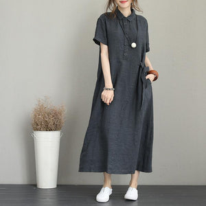 Fine dark gray linen dress trendy plus size turn-down collar linen clothing dresses Elegant short sleeve tie waist maxi dresses