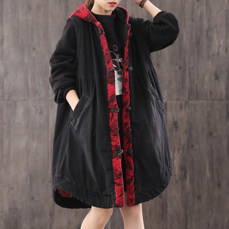 Fine denim black Parkas for women plus size snow jackets hooded Button overcoat