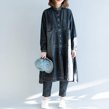 Load image into Gallery viewer, Fine denim black coat oversize patchwork Coat top quality lapel collar long coat