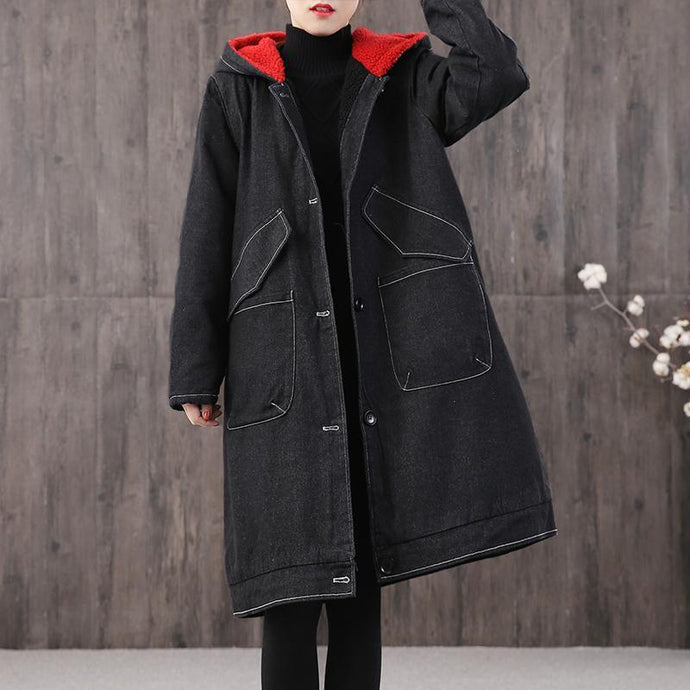 Fine denim black print Parkas oversized Coats hooded pockets outwear
