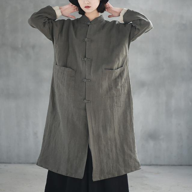 Fine gray Coats plus size stand collar cardigan 2018 long sleeve trench coat