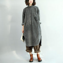 Load image into Gallery viewer, Fine gray cotton blended dresses Loose fitting long sleeve casual Turn-down Collar side open cotton blended clothing dresses