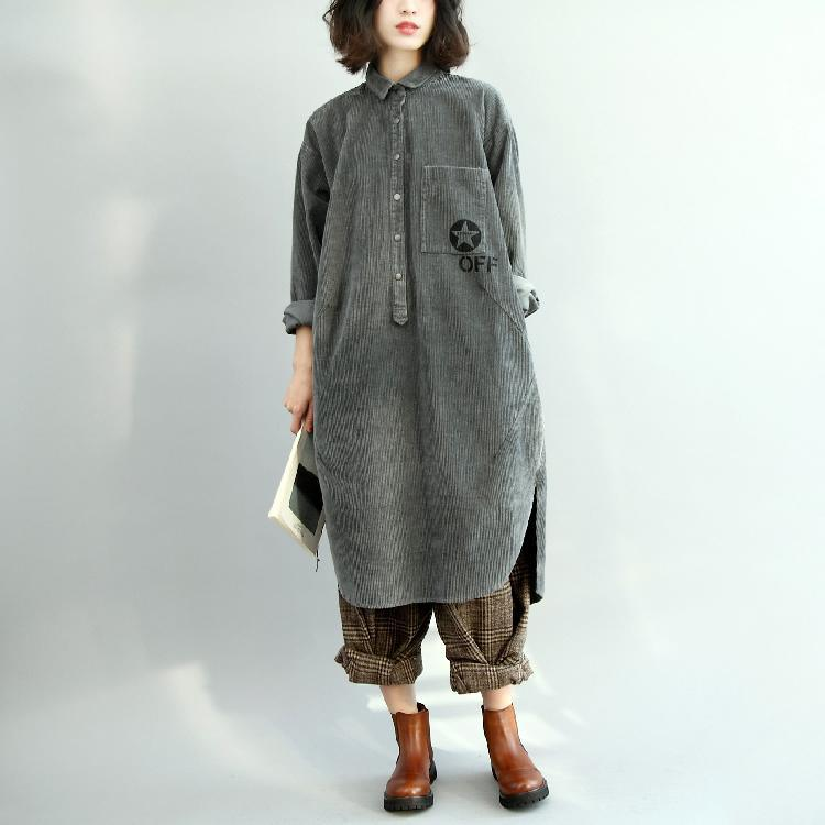 Fine gray cotton blended dresses Loose fitting long sleeve casual Turn-down Collar side open cotton blended clothing dresses