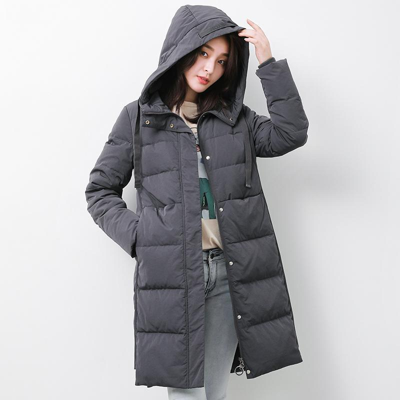 Fine gray goose Down coat plus size clothing hooded winter jacket long sleeve Jackets