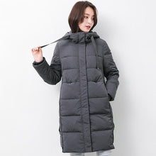 Load image into Gallery viewer, Fine gray goose Down coat plus size clothing hooded winter jacket long sleeve Jackets