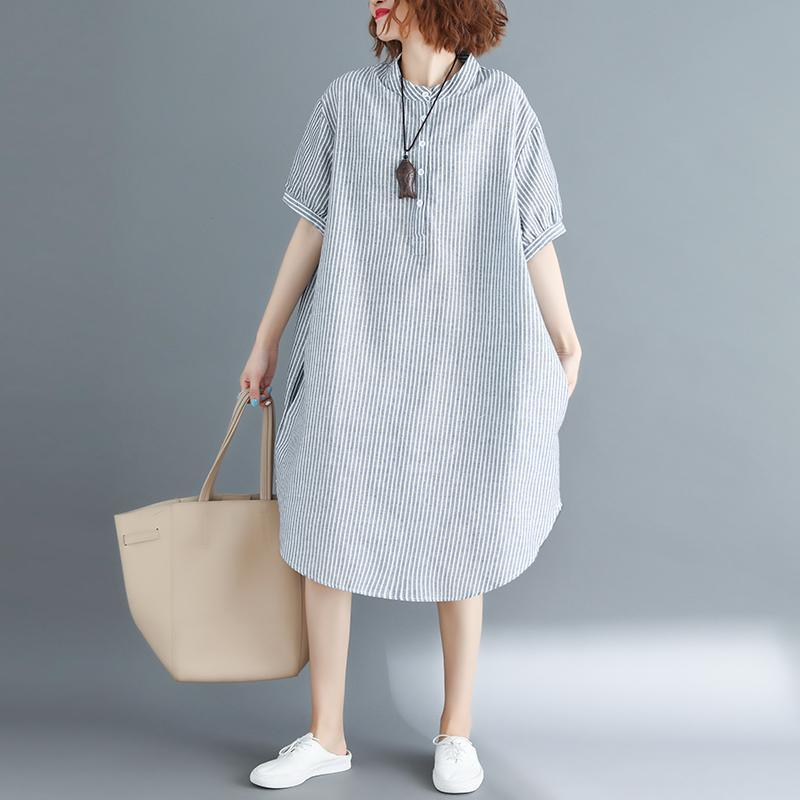 Fine gray striped cotton linen knee dress plus size clothing holiday dresses top quality short sleeve Stand baggy dresses