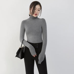 Fine gray winter sweater plus size high neck pullover top quality slim knitted sweaters
