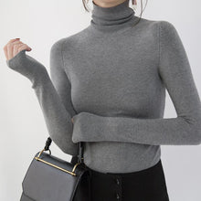 Load image into Gallery viewer, Fine gray winter sweater plus size high neck pullover top quality slim knitted sweaters