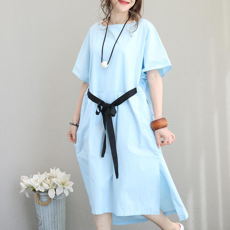 Fine light blue cotton dresses trendy plus size o neck tie waist cotton clothing dress casual short sleeve patchwork dress