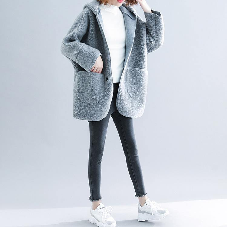 Fine light gray woolen overcoat plus size patchwork coats