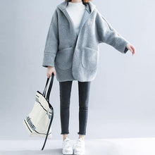 Load image into Gallery viewer, Fine light gray woolen overcoat plus size patchwork coats