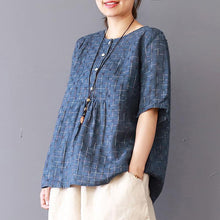 Load image into Gallery viewer, Fine linen blouse casual Summer Round Neck Lattice Short Sleeve Blue Blouse
