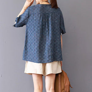 Fine linen blouse casual Summer Round Neck Lattice Short Sleeve Blue Blouse