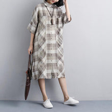 Load image into Gallery viewer, Fine linen dresses plus size clothing Women Polo Collar Short Sleeve Plaid Linen Shirt Dress