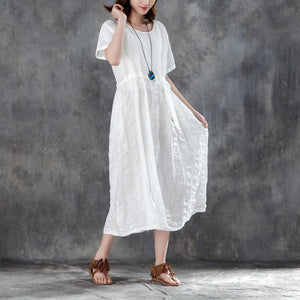 Fine long cotton linen dresses oversized Women White Linen Lacing Casual Short Sleeve Dress
