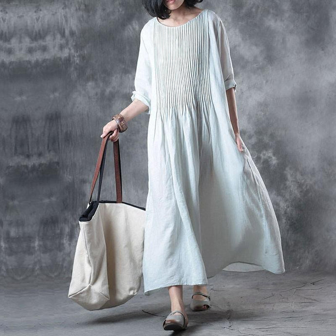 Fine long linen dress Loose fitting Solid Loose Folded Pocket Women Elbow Sleeves Blue Dress